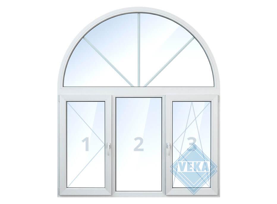 Арочное окно с левой поворотной створкой, средней глухой и правой поворотно-откидной створкой