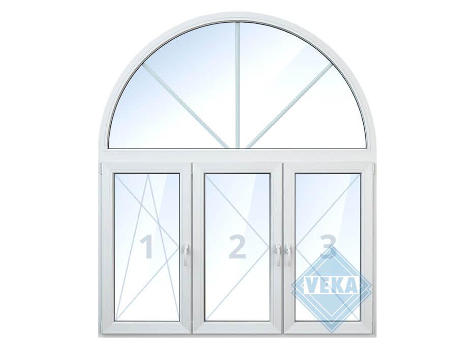 Арочное окно с левой поворотно-откидной створкой, средней и правой поворотной створками
