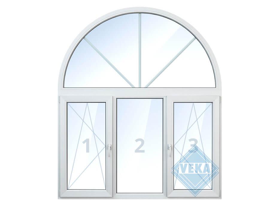 Арочное окно со средней глухой, правой и левой поворотно-откидными створками