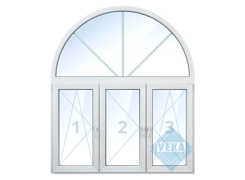Арочное окно со средней поворотной створкой, правой и левой поворотно-откидными створками