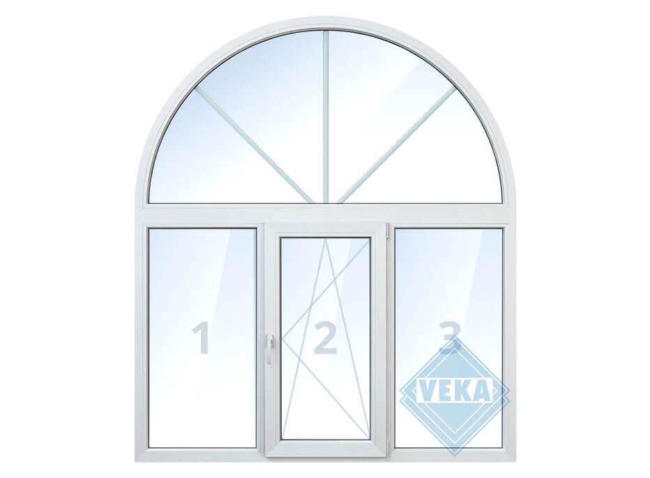 Арочное окно со средней поворотно-откидной створкой