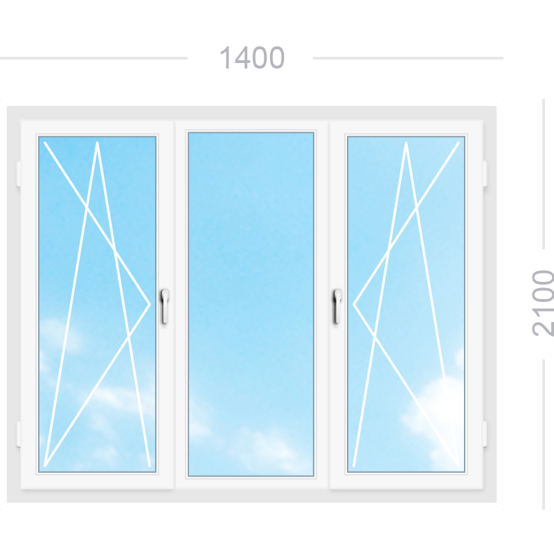 Трехстворчатое окно со средней глухой, правой и левой поворотно-откидными