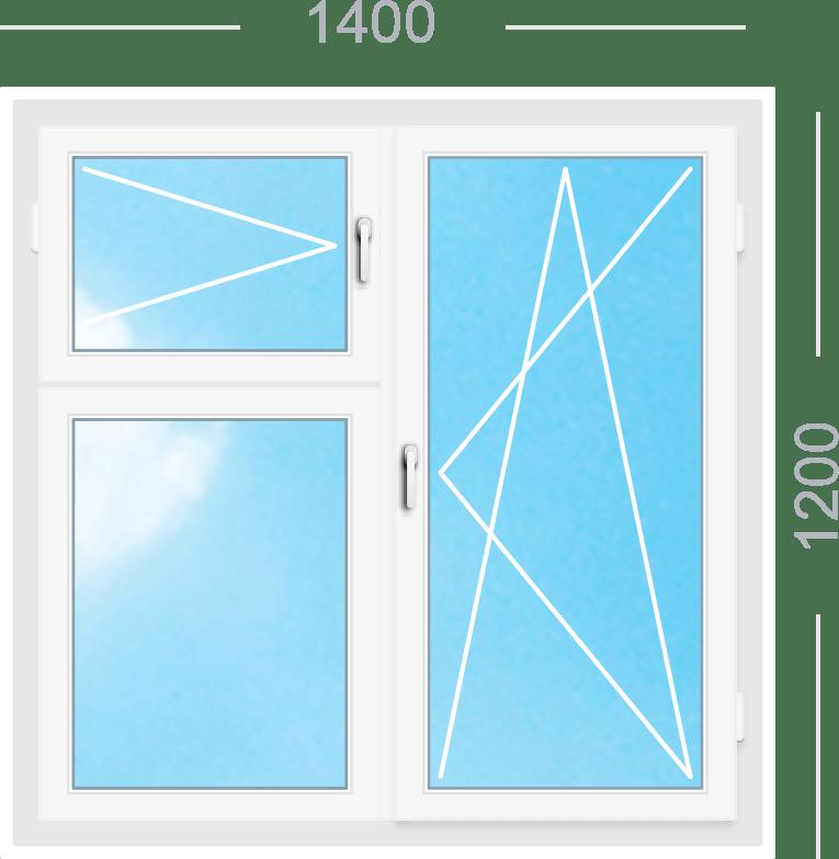 Двухстворчатое окно с поворотно-откидной створкой с поворотной