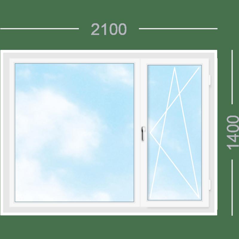 Двухстворчатое окно с поворотно-откидной створкой
