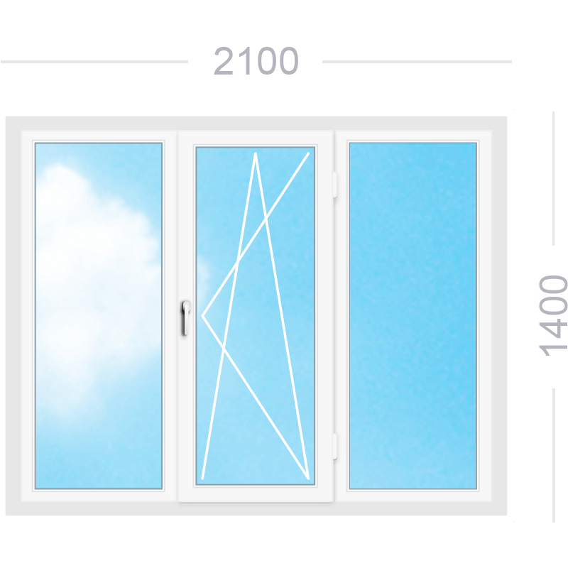 Трехстворчатое окно со средней поворотно-откидной створкой