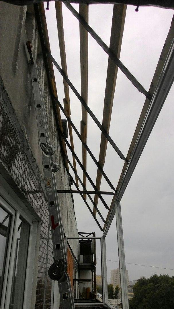 остекление балкона с крышей - ход работы